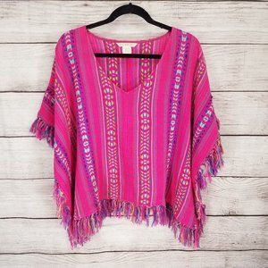 Billabong S/M Fringed Knitted Poncho Sweater